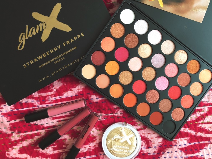 Review on the Glam X Cosmetics Strawberry Frappe palette, Sunkissed Goddess Glow and newLipsticks